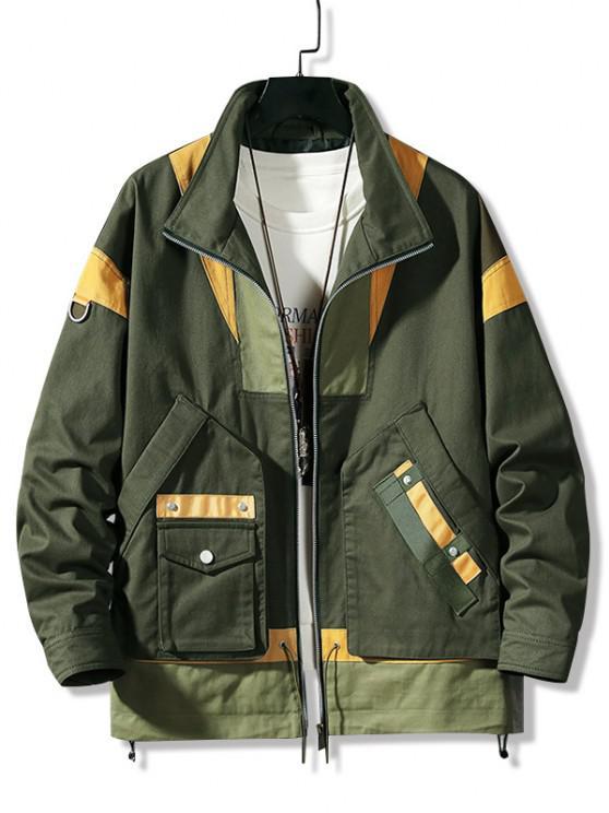 shop Colorblock Panel Pocket Cargo Jacket - ARMY GREEN 3XL