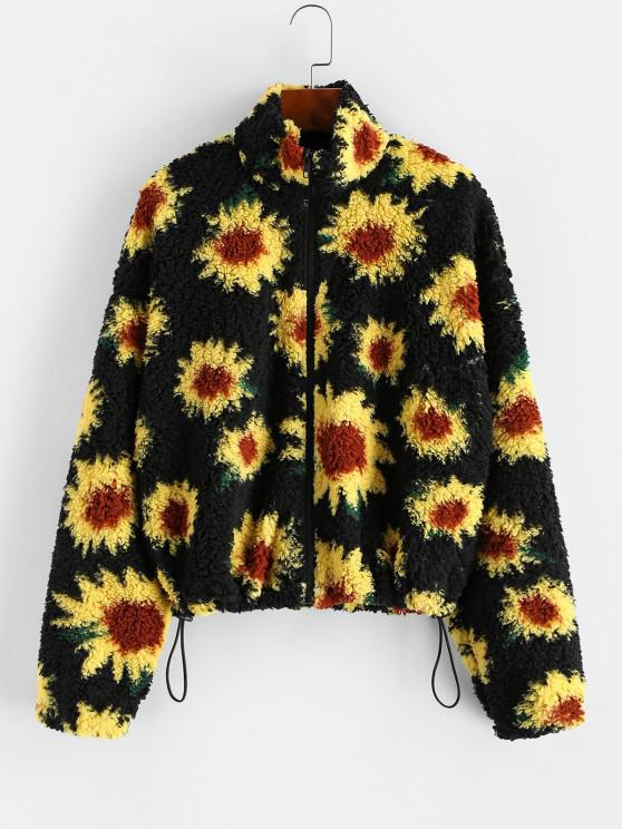 chic ZAFUL Sunflower Fuzzy Teddy Coat - BLACK S