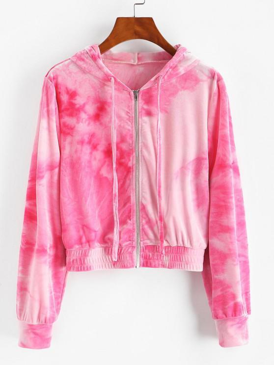 outfit ZAFUL Tie Dye Velvet Hooded Jacket - LIGHT PINK L