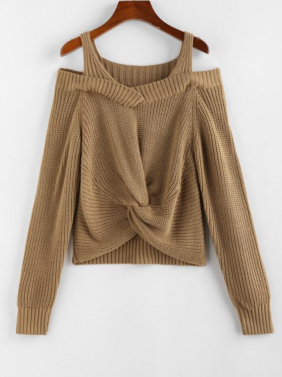 unique ZAFUL Cold Shoulder Twisted Jumper Sweater - COFFEE S