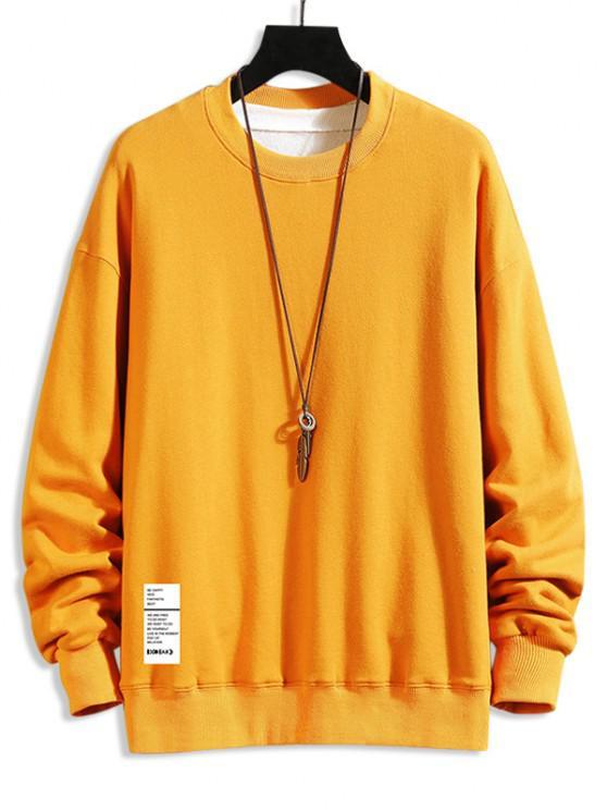 Letter Text Crew Neck Pullover Sweatshirt - نحلة صفراء L