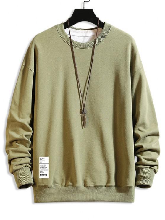 Letter Text Crew Neck Pullover Sweatshirt - اخضر بلون البندق 4XL