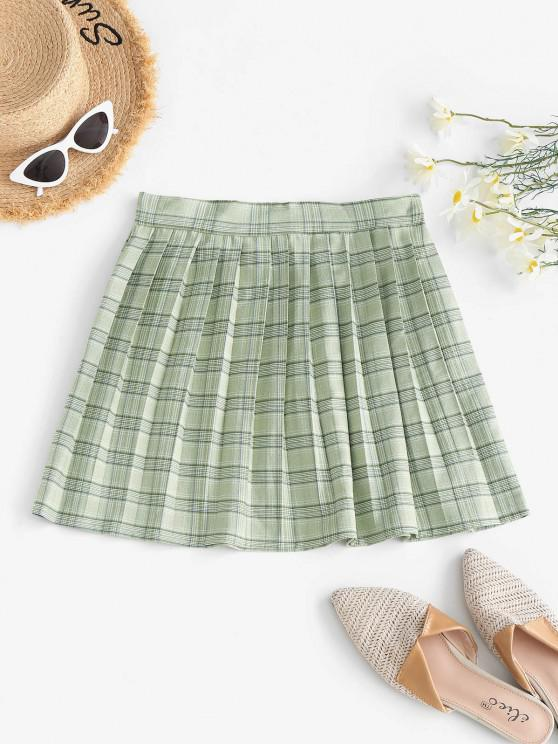 women Plaid Pleated Mini Skirt - LIGHT GREEN S
