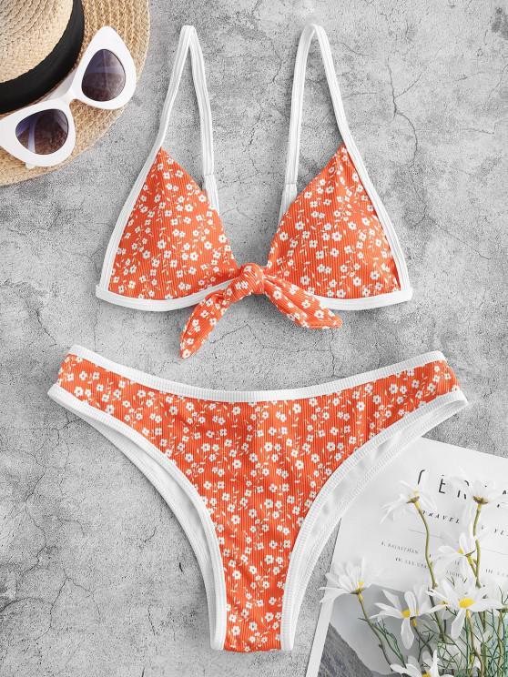ZAFUL Ribbed Ditsy Print Tied Ringer Bikini Swimwear - برتقالي قاتم S