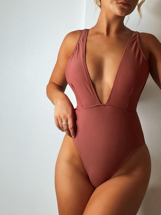 outfits High Cut Plunge Neck Swimsuit - CHESTNUT M