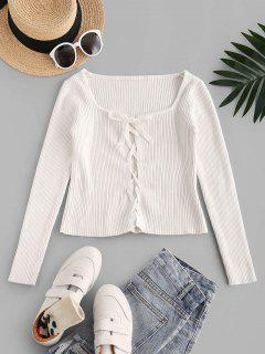 Fitted Lace Up Ribbed Knitwear - Warm White