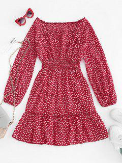 Ditsy Floral Lantern Sleeve Flounce Dress - Red S