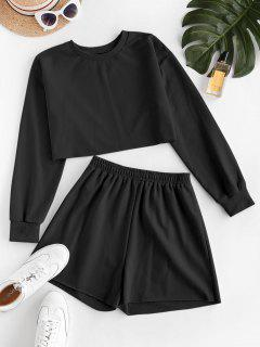 ZAFUL French Terry Raw Cut Two Piece Shorts Set - Black M
