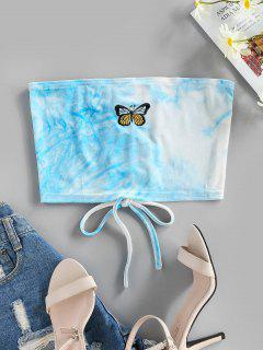 ZAFUL Lace Up Butterfly Embroidered Velvet Crop Tube Top - Light Blue Xl