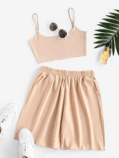Sweat Bungee Strap Embroidered Two Piece Shorts Set - Light Coffee Xl