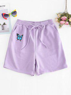 French Terry Butterfly Graphic Pocket Sweat Shorts - Purple M