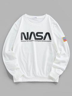 ZAFUL Letter Print American Flag Embroidered Sweatshirt - White 2xl