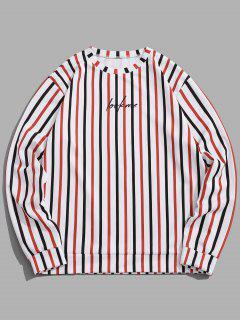 Sweat-shirt Rayé Contrasté Slogan Imprimé - Blanc 2xl