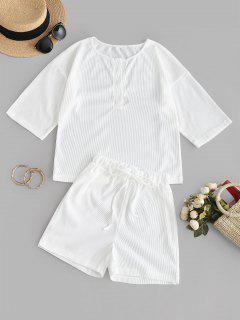 Ribbed Drop Shoulder T-shirt And Mini Shorts - White M