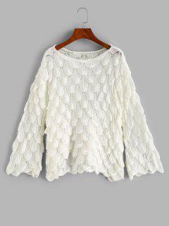 Openwork Fish Scale Mermaid Jumper Sweater - White