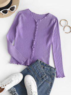 Ribbed Knit Lettuce Slim Sweater - Purple