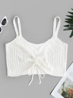 V Neck Cinched Front Knitted Crop Top - White Xl