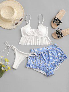 ZAFUL Flower Ribbed Cinched Ruffle High Leg Three Piece Swimwear - White S