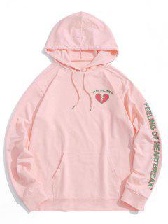 Herz Grafikdruck Känguru Tasche Hoodie - Hell-pink 2xl