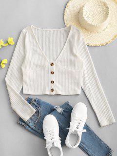 ZAFUL Mock Button Plunging Crop T-shirt - White M