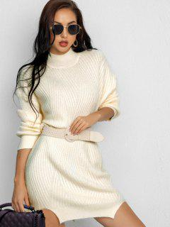 Notched Mock Neck Sweater Dress - White