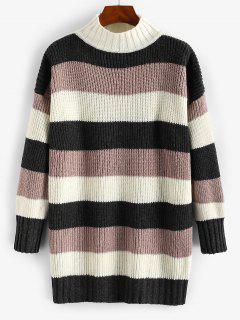 Mock Neck Colorblock Stripes Boyfriend Sweater - Deep Coffee