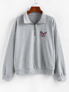 ZAFUL Drop Shoulder Butterfly Embroidered Half Zip Sweatshirt - Ash Gray M