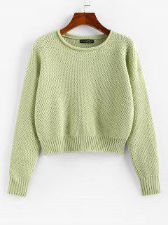 ZAFUL Drop Shoulder Roll Trim Pullover Sweater - Light Green L