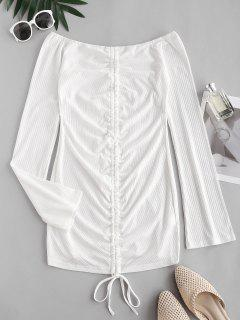 Ribbed Off Shoulder Cinched Front Dress - White L
