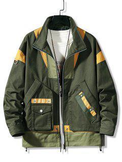 Colorblock Panel Pocket Cargo Jacket - Army Green 2xl