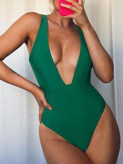 Traje De Baño Cuello Escotado Tirantes - Verde L