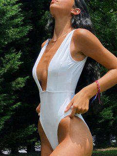High Cut Plunge Neck Swimsuit - White M