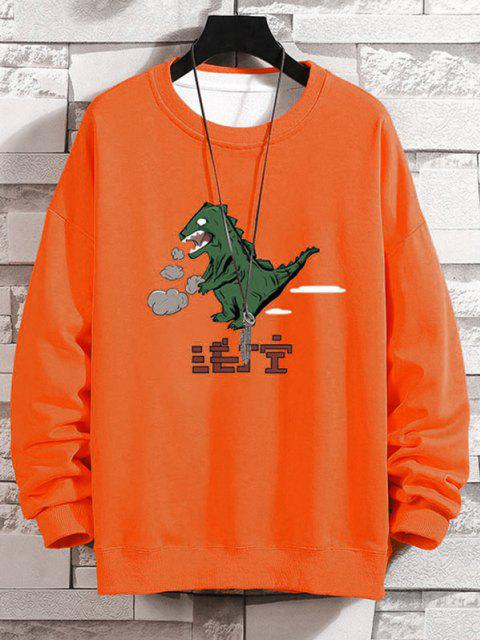 Sweat-shirt Dinosaure Dessin Animé Imprimé à Goutte Epaule - Orange 3XL Mobile