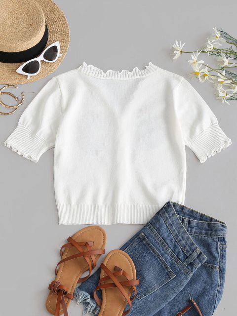 Blumenstickerei Slim Kopfsalat Strickwaren - Weiß Eine Größe Mobile
