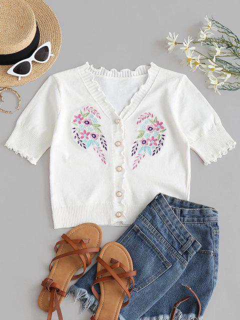 Tricot Maigre Fleur Brodée à Ourlet en Laitue - Blanc Taille Unique Mobile