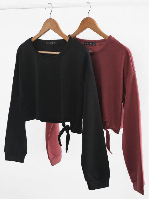 Drop Shoulder Tied Crop Sweatshirt - أسود L Mobile