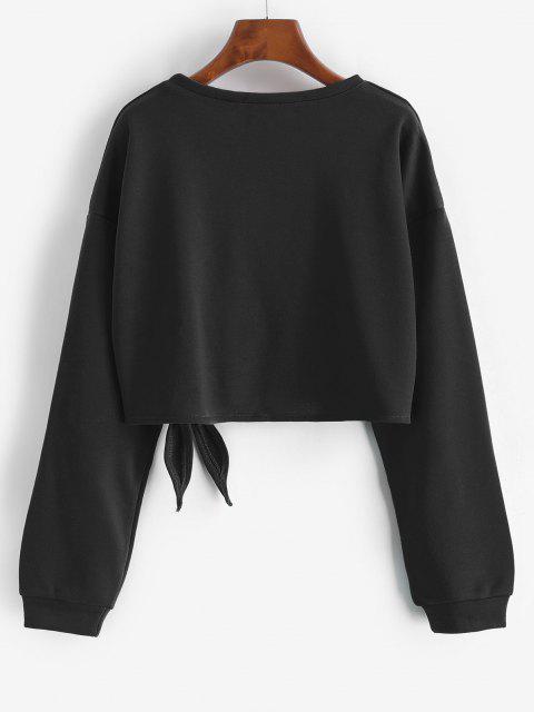 hot Drop Shoulder Tied Crop Sweatshirt - BLACK S Mobile