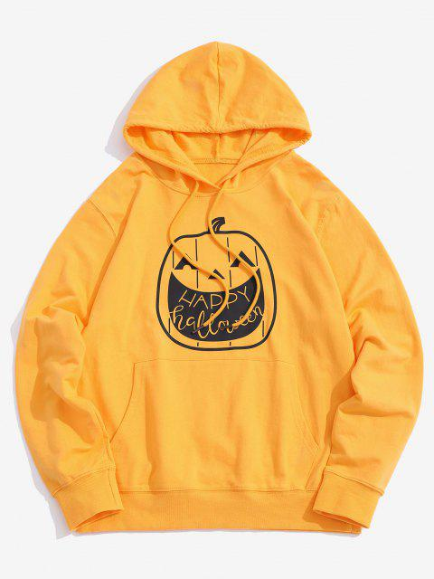 buy Halloween Pumpkin Graphic Front Pocket Casual Hoodie - YELLOW 2XL Mobile