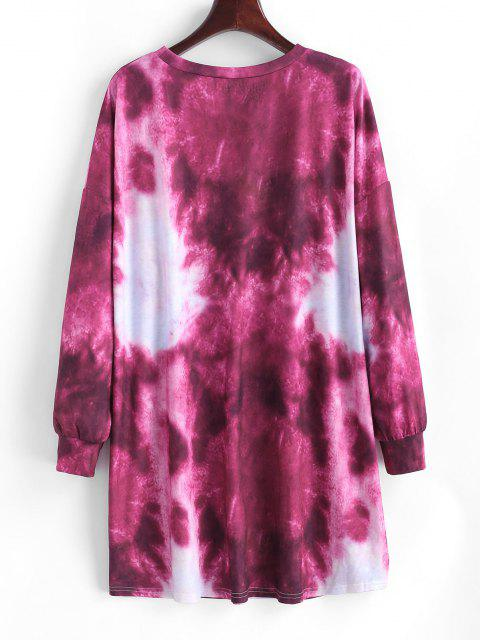 chic Tie Dye Drop Shoulder Shift Tee Dress - DEEP RED M Mobile