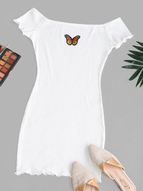 ladies Off The Shoulder Butterfly Patch Ribbed Bodycon Dress - WHITE XL Mobile