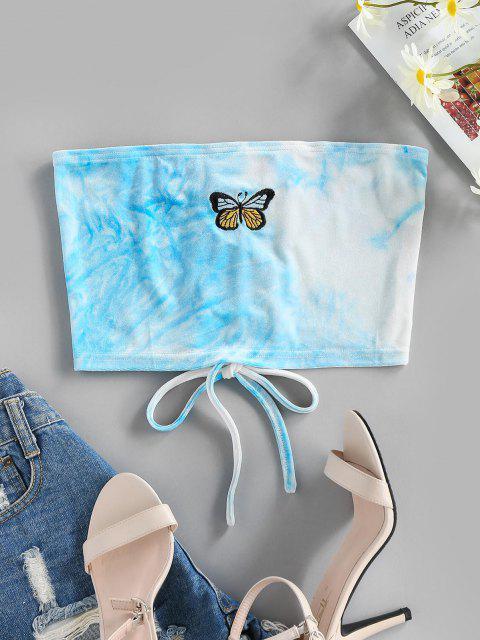 ZAFUL Haut Tube Court Papillon Brodé à Lacets en Velours - Bleu Clair L Mobile