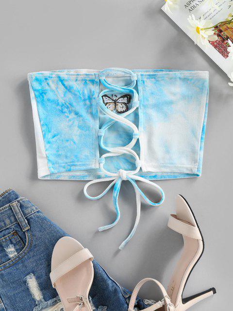 ZAFUL Haut Tube Court Papillon Brodé à Lacets en Velours - Bleu clair XL Mobile