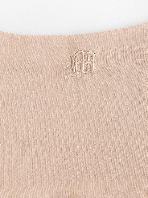 Conjunto de duas peças camiseta ajustada com estampa letrada em Duas Partes Iguais - Café Light XL Mobile