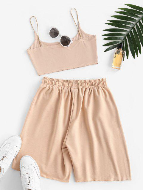 hot Sweat Bungee Strap Embroidered Two Piece Shorts Set - LIGHT COFFEE XL Mobile