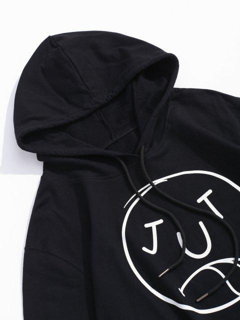 latest Funny Face Graphic Casual Drawstring Hoodie - BLACK XL Mobile