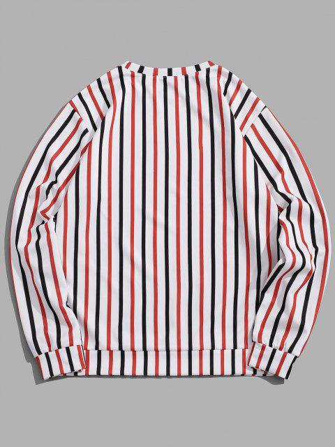 Kontrast Gestreifter Druck Slogan Sweatshirt - Weiß 2XL Mobile