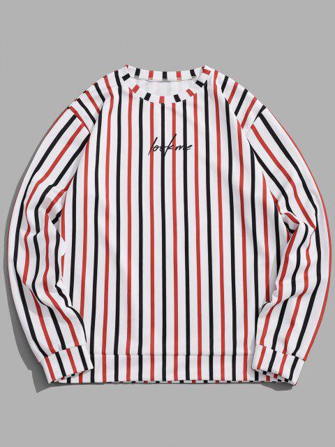 Kontrast Gestreifter Druck Slogan Sweatshirt - Weiß 3XL Mobile