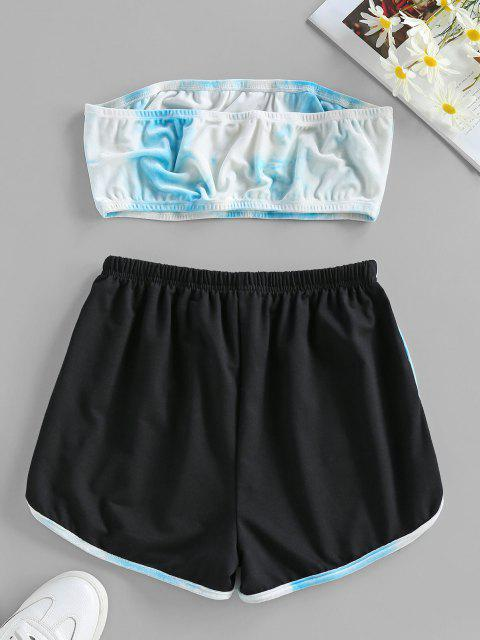 women's ZAFUL Tie Dye Strapless Velvet Drawstring Shorts Set - LIGHT BLUE L Mobile