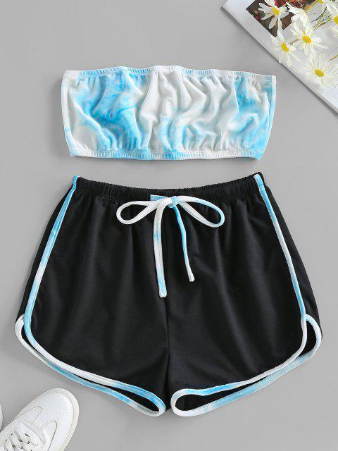 latest ZAFUL Tie Dye Strapless Velvet Drawstring Shorts Set - LIGHT BLUE M Mobile