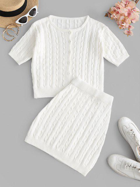 fashion Cable Knit Button Up Two Piece Dress - WHITE M Mobile